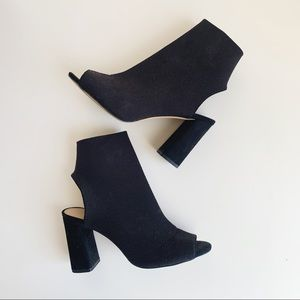 Aldo Black Knit Sock Heels - Peep Toe & Open Heel